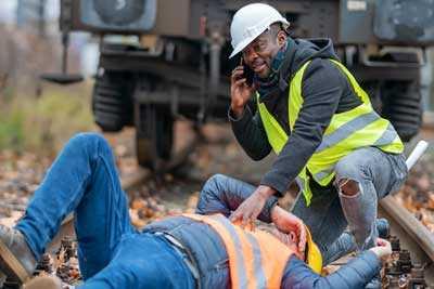 A man injured on a railroad