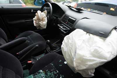 Airbags deployed in a vehicle after a car accident