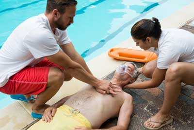 A man injured by the swimming pool