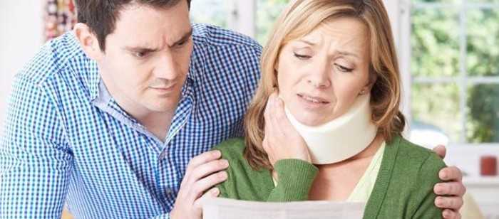 A woman with a neck injury from a truck accident.