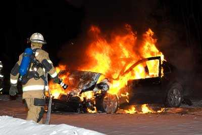 A vehicle fire in Houston